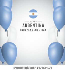 Argentina independence day modern design template with balloons.