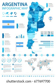 Argentina info graphic map and flag - vector illustration