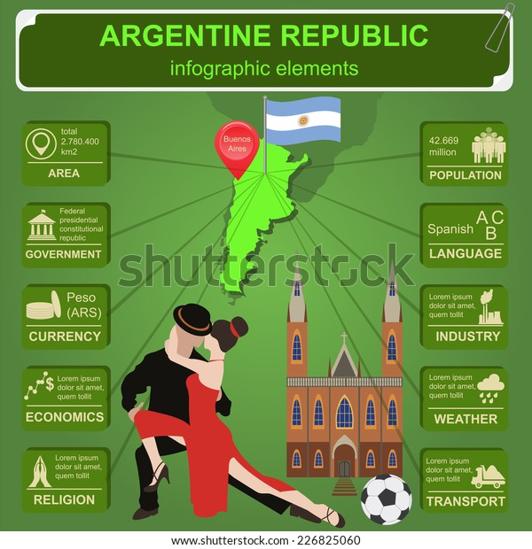 Argentina Infographics Statistical Data Sights Vector Stock Vector