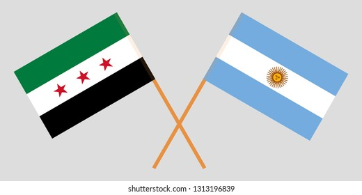 Argentina and Interim Government of Syria. The Argentinean and Coalition flags. Official colors. Correct proportion. Vector illustration