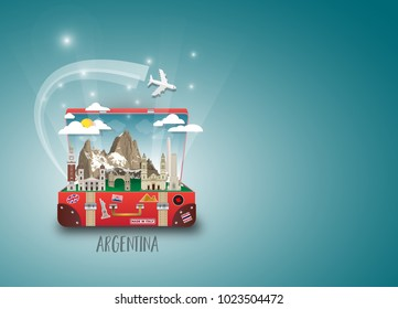 Argentina Landmark Global Travel And Journey paper background. Vector Design Template.used for your advertisement, book, banner, template, travel business or presentation.
