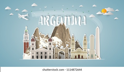Argentina Landmark Global Travel And Journey paper background. Vector Design Template.used for your advertisement, book, banner, template, travel business or presentation