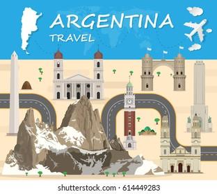 argentina Landmark Global Travel And Journey Infographic Vector Design Template.vector illustration