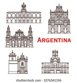 Argentina landmarks buildings and famous architecture line facade icons. Vector set of Salta and Saint Bernard monastery, Buenos Aires town hall and San Francisco cathedral of Latin America churches