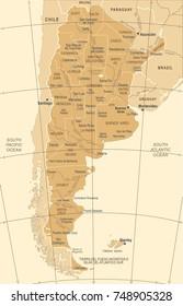 Argentina Map - Detailed Vintage Vector Illustration