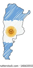 Argentina map hand drawn sketch. Vector concept illustration flag, childrens drawing, scribble map. Country map for infographic, brochures and presentations isolated on white background. Vector