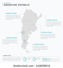 Argentina map infographics with abstract pixelated dot pattern on white background. Stylized map concept with elementsl. - Vector illustration
