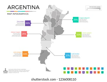 Argentina map infographics with editable separated layers, zones, elements and district area in vector