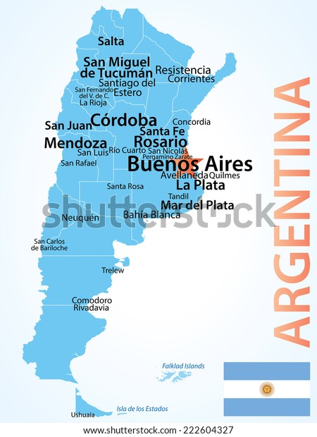 Argentina Map Larget Cities Carefully Scaled Stock ...