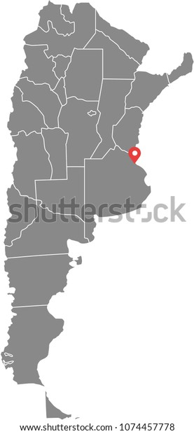 Argentina Map Vector Outline Illustration Provinces Stock ...