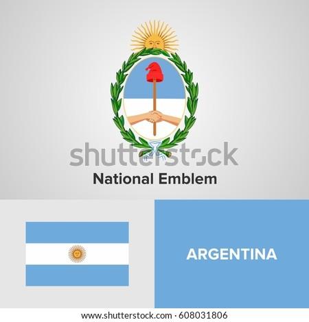 Argentina National Emblem Flag Stock Vector Royalty Free 608031806