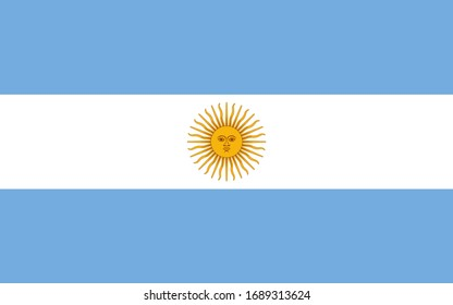 Argentina national flag. Vector illustration of Standart size.