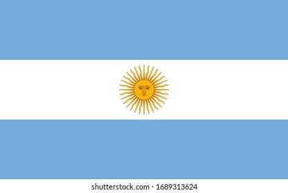Argentina national flag. Vector illustration of Standart size.