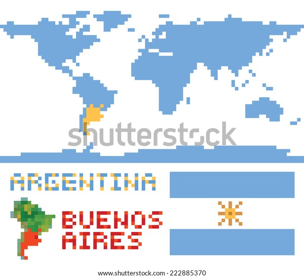 Argentina On World Map Border Shape Stock Vector (Royalty ...