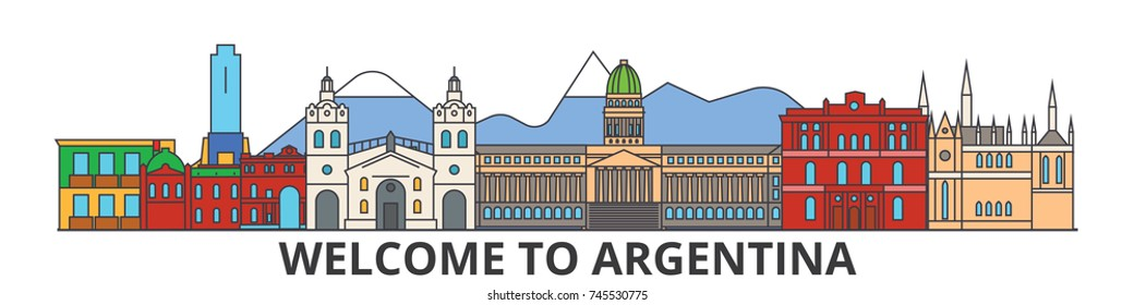 Argentina outline skyline, argentinian flat thin line icons, landmarks, illustrations. Argentina cityscape, argentinian travel city vector banner. Urban silhouette