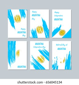 Argentina Patriotic Cards for National Day. Expressive Brush Stroke in National Flag Colors on white card background. Argentina Patriotic Vector Greeting Card.