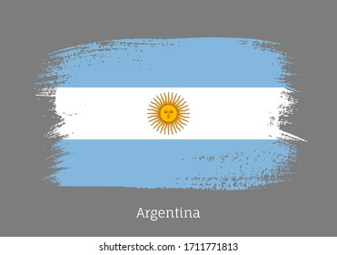 Argentina republic official flag in shape of paintbrush stroke. Argentinian national identity symbol for patriotic design. Grunge brush blot vector illustration. Argentina country nationality sign.