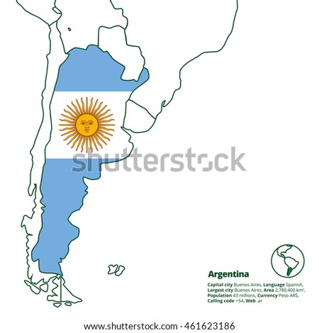 Argentina Silhouette National Flag Other Latin Stock Vector (Royalty ...