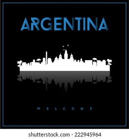 Argentina, skyline silhouette vector design on parliament blue and black background.