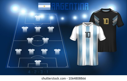 Argentina Soccer Jersey Or Team Apparel Template Football Substitues Broadcast Graphic For Starting Lineup