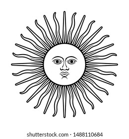 Argentina sun symbol from Argentina flag vector outline isolated on white background