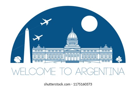 Argentina top top famous landmark silhouette and dome with blue color style, welcome to Taiwan,travel and tourism,vector illustration