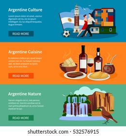 Argentina top tourists attractions 3 flat horizontal banners webpage design with landmarks food and culture isolated vector illustration