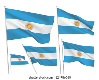 Argentina vector flags set. 5 wavy 3D cloth pennants fluttering on the wind. EPS 8 created using gradient meshes isolated on white background. Five flagstaff design elements from world collection