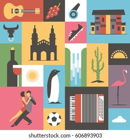 Argentina, vector flat illustration, icon set, travel background. Guitar, grape, house, bull, boots, wine, sun, waterfall, cactus tree, food, flamingo bird, music, soccer, dance
