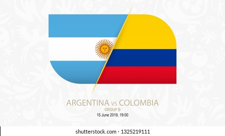 Argentina vs Colombia, Football competition on gray soccer background.