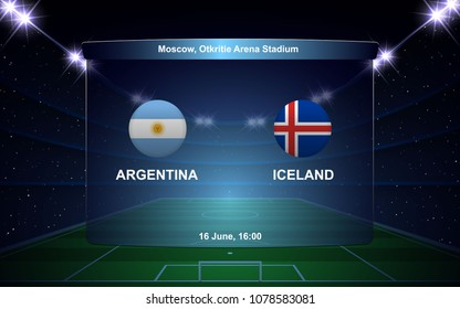 Argentina vs Iceland. football scoreboard broadcast graphic soccer template