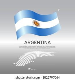 Argentina wavy flag and mosaic map on light background. Creative background for the national argentine poster. Vector tricolor design. Business booklet. State argentine patriotic banner, flyer