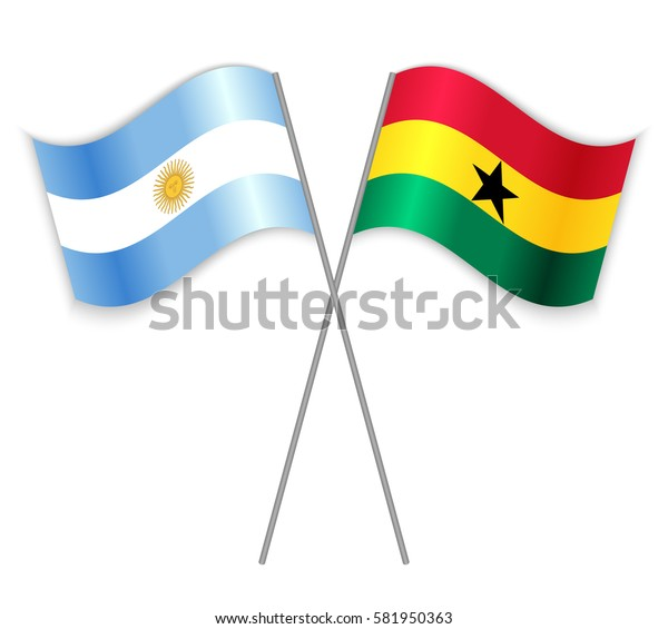 Argentine and Ghanaian crossed flags. Argentina combined with Ghana isolated on white. Language learning, international business or travel concept.