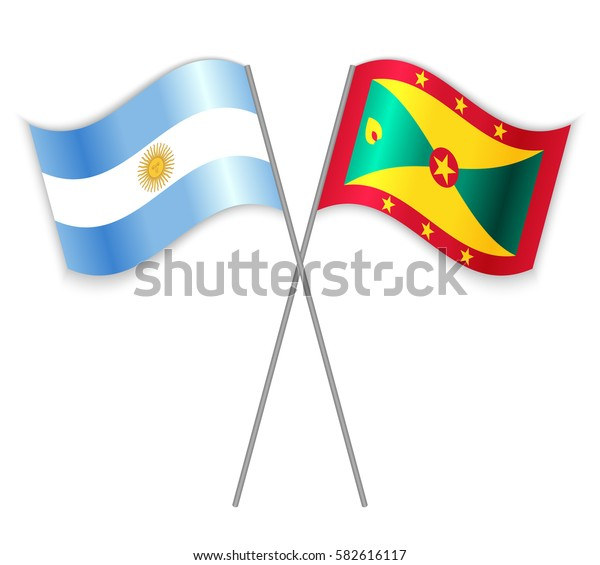 Argentine and Grenadian crossed flags. Argentina combined with Grenada isolated on white. Language learning, international business or travel concept.