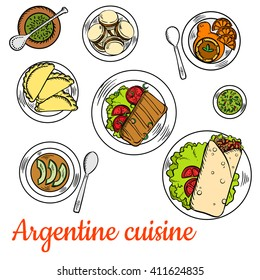 Argentine national cuisine such as asado short ribs, empanadas, chimichurri sauce, vegetarian cream soup with avocado, alfajor cookies and dulce de leche dessert with fresh oranges and mate tea