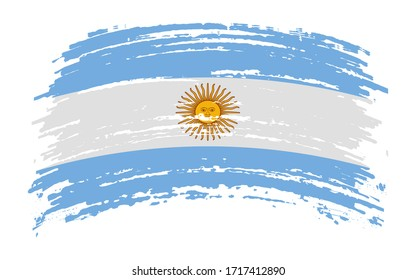 Argentinean flag in grunge brush stroke, vector image
