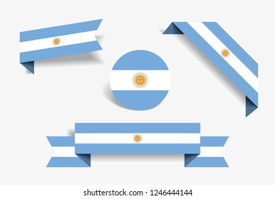 Argentinean flag stickers and labels set. Vector illustration.