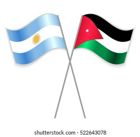 Argentinean and Jordanian crossed flags. Argentina combined with Jordan isolated on white. Language learning, international business or travel concept.