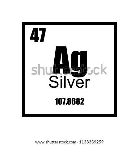 Argentum Silver Periodic Table Element Black Stock Vector Royalty