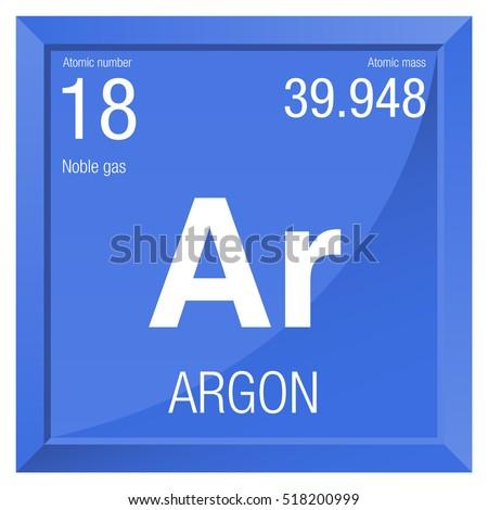 Argon Symbol Element Number 18 Periodic Stock Vector Royalty Free