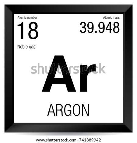 Argon Symbol Element Number 18 Periodic Stock Vector Royalty Free