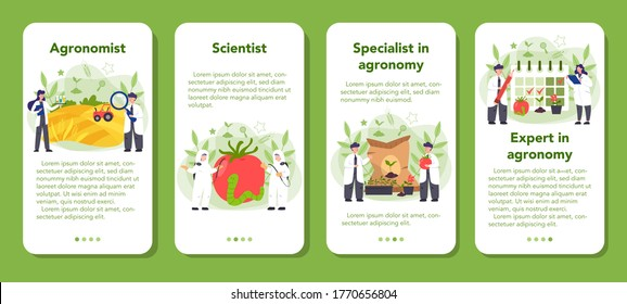 Argonomist mobile application banner set. Scientist making research in agriculture. Idea of farming and cultivation. Organic harvest selection. Isolated vector illustration