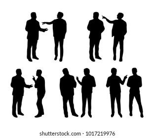 Arguing man silhouetes