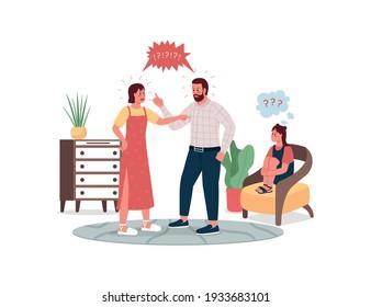 Discutir a los padres y alterar los caracteres detallados del vector de color plano infantil. Padre y madre discuten. Triste hija. Ilustración cartográfica aislada de conflictos familiares para diseño gráfico web y animación