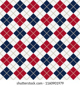 Argyle Diagonal Diamond Seamless Textile Pattern In Blue And Red