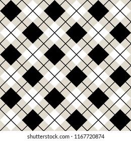 Argyle Diagonal Diamond Seamless Textile Pattern In Black And White