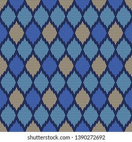 Argyle diamonds pattern novelty check design in blue, yellow, lavender colors. Simple geometric all over print block for apparel textile, ladies dress fabric, fashion garment, silk scarf, swimwear.