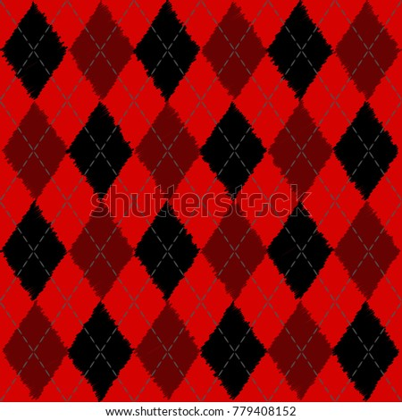 Argyle Knit Pattern Black Red Vector Stock Vector Royalty Free
