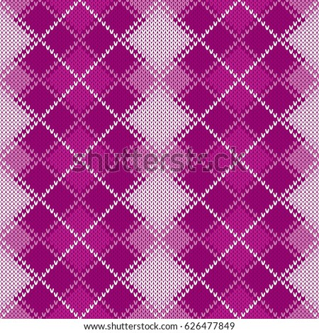 Argyle Knitted Pattern Retro Knitting Sweater Stock Vector Royalty