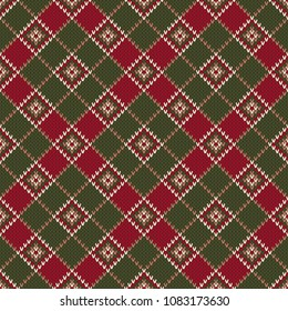 Argyle Knitting Sweater Design. Scheme for Sweater Pattern Design or Cross Stitch Embroidery. Wool Knit Texture Imitation